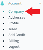 Click on the Company button to change information