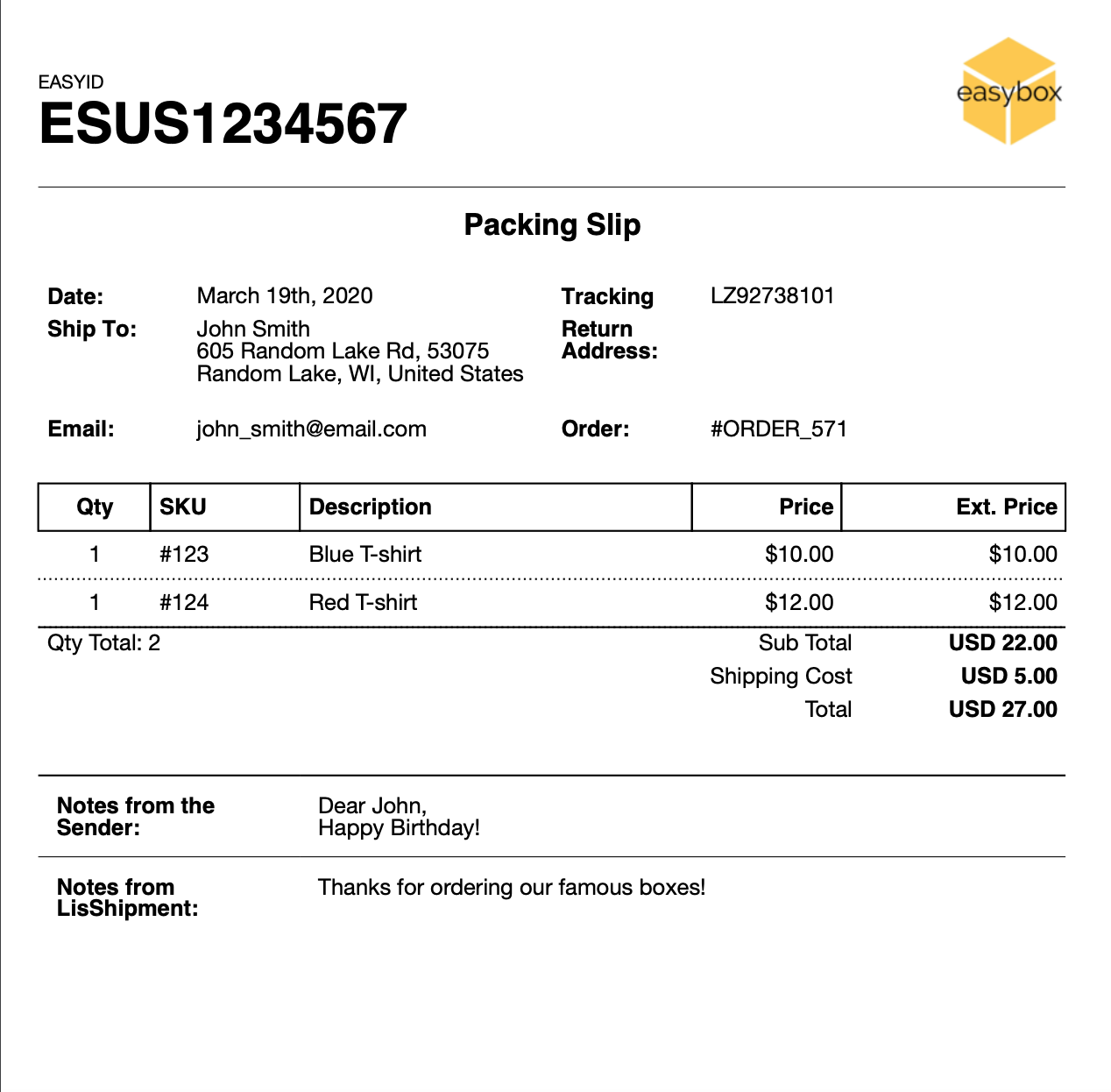 Customized packing slip example